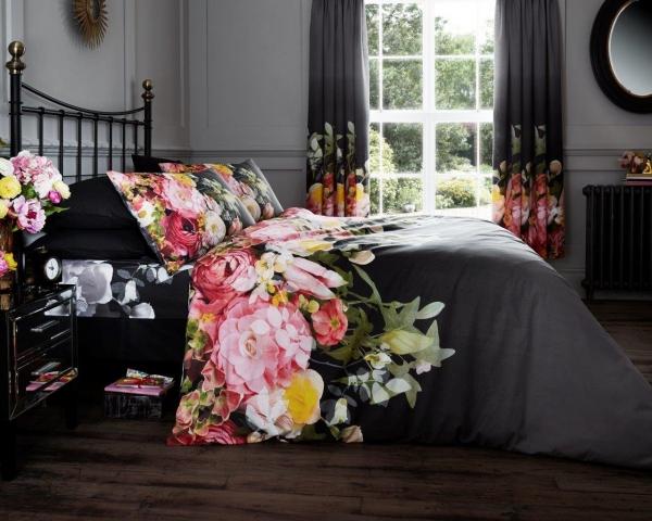 Fadded Floral 'Black' Double, King & Super King size Quilt Duvet Cover Sets