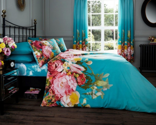 Fadded Floral 'Terquoise' Double, King & Super King size Quilt Duvet Cover Sets
