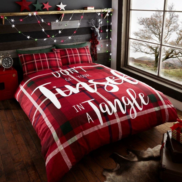 Tinsel In a Tangle 'Christmas' Panel Double Bed Duvet Quilt Cover Set