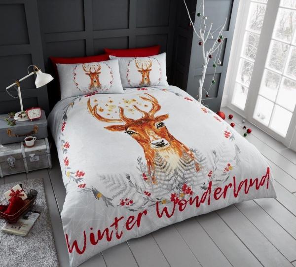 Winter Wonderland 'Christmas' Panel Double Bed Duvet Quilt Cover Set