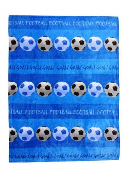 Luxury Kids Football Blue Printed Fc Rotary Fleece Blanket Throw