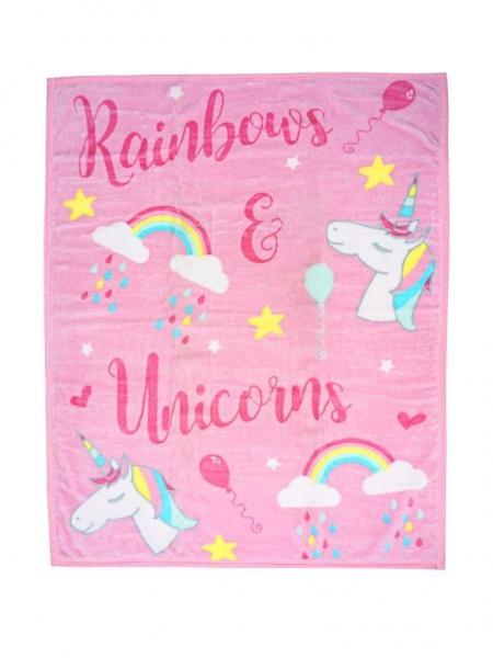 Luxury Kids Unicorn Pink Printed Panel Fleece Blanket Throw