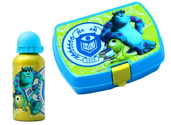Disney Monster University Inc School Sandwich Box & Aluminium Bottle Lunch
