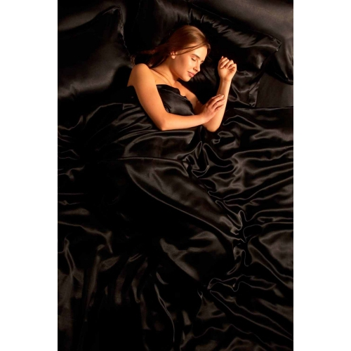 6 Piece Satin - Black Complete Set Bedding King Duvet Cover