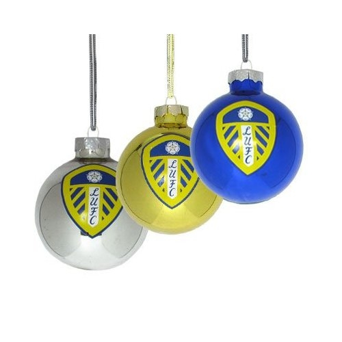 Leeds United 3pack Fc Football Baubles Official Christmas