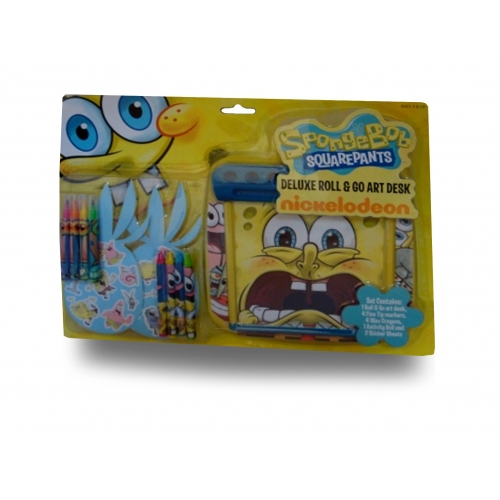Spongebob Squarepants 'Deluxe' 12 Pc Roll & Go Art Desk Stationery