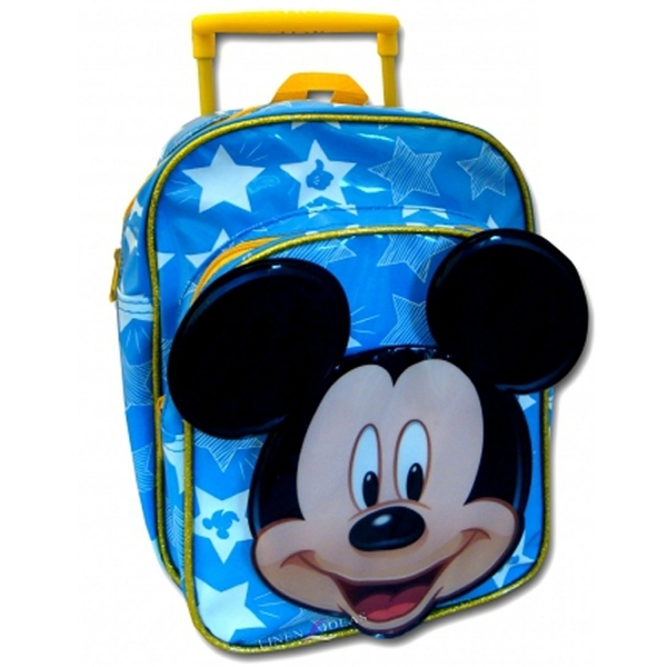 Disney Mickey Mouse 'Mickey' Blue Mini Pvc School Travel Trolley Roller Wheeled Bag