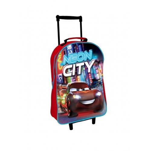 Disney Cars '3d Neon City' School Travel Trolley Roller Wheeled Bag