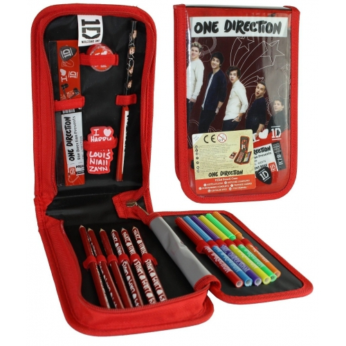 One Direction 17 Pc Tri Fold Filled Pencil Case Stationery