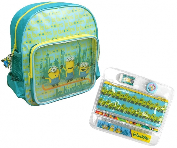 Minions 'Le Buddies' with Stationery School Bag Rucksack Backpack