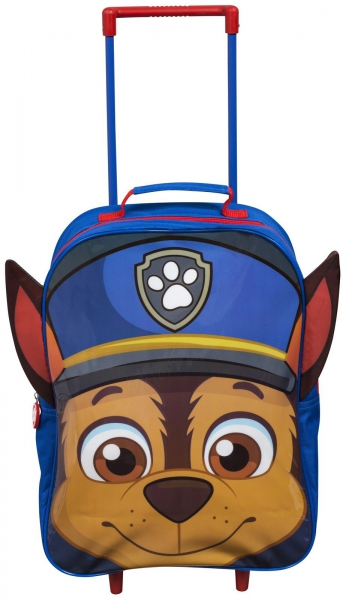 Paw Patrol 'Chase' Boys Pvc Front with Ears School Travel Trolley Roller Wheeled Bag