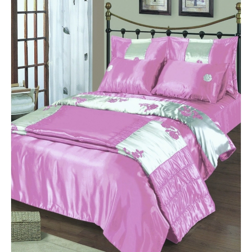 Embroidered Satin Pink Cream Bedding Double Duvet Cover Set
