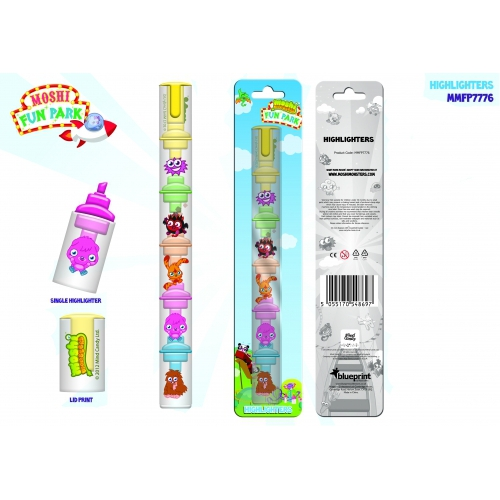 Moshi Monsters 'Fun Park' 5 In 1 Pack Highlighters Stationery