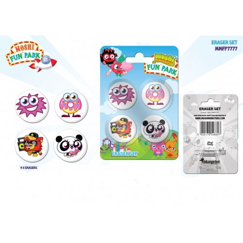 Moshi Monsters 'Fun Park' 4pk Eraser Set Stationery