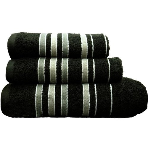 Towel Catherine Lansfield Java Stripe New Cols 450gsm Black Bath