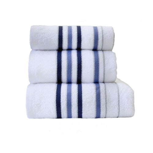 Towel Catherine Lansfield Java Stripe New Cols 450gsm White/ Navy Bath
