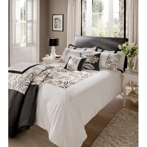 Catherine Lansfield 'Shrewsbury' Black Panel Double Bed Duvet Quilt Cover Set