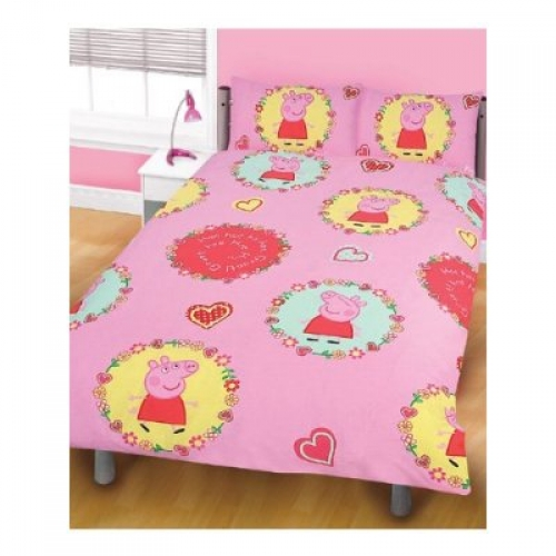 Peppa Pig Spiral Rotary Double Bed Duvet Quilt Cover Set