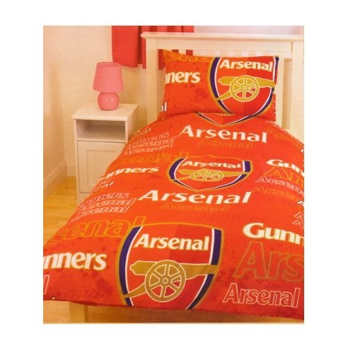 Arsenal Fc 'Gunners' Football Rotary Official Single Bed Duvet Quilt Cover Set