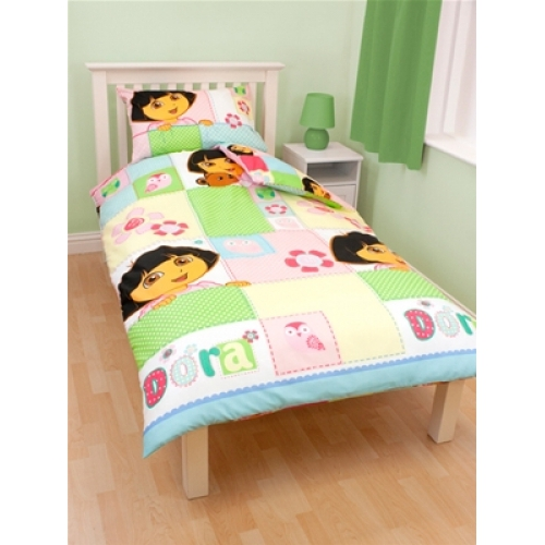 Dora The Explorer 'Buttons' Rotary Single Bed Duvet Quilt Cover Set