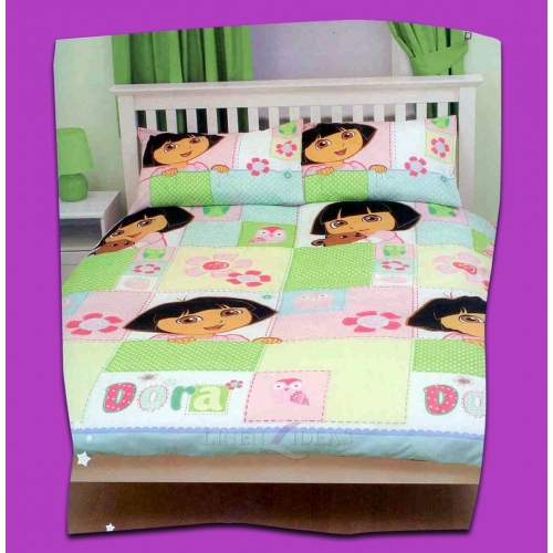 Dora The Explorer Buttons Rotary Double Bed Duvet Quilt Cover Set
