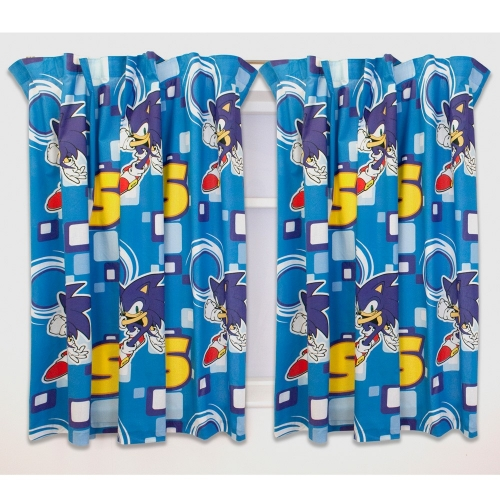 Sonic The Hedgehog 'Spin' 66 X 54 inch Drop Curtain Pair