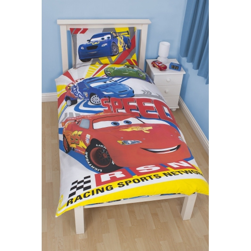 Disney Cars Speed Reversible Panel Single Bed Duvet Quilt Cover Set