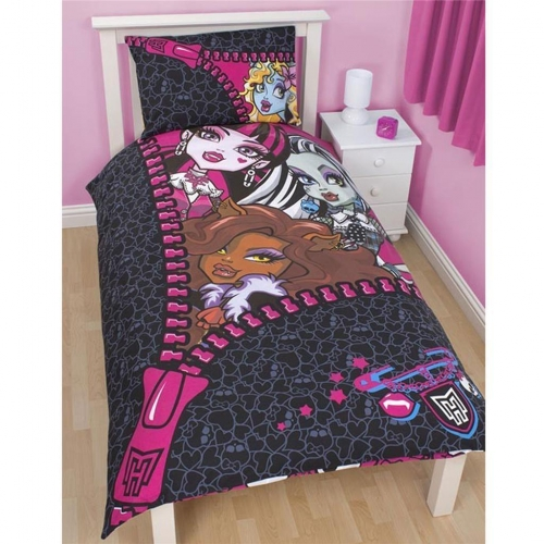 Monster High 'Skulette' Reversible Panel Single Bed Duvet Quilt Cover Set