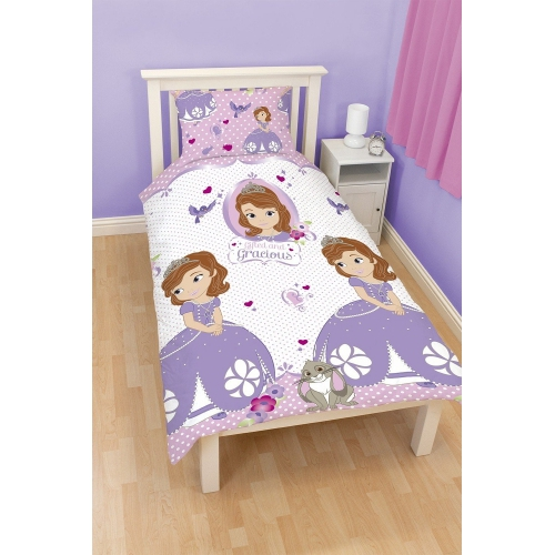 Disney Sofia The First 'Amulet' Reversible Rotary Single Bed Duvet Quilt Cover Set