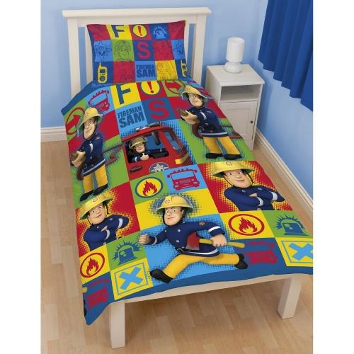 Fireman Sam 'Duty' Reversible Rotary Single Bed Duvet Quilt Cover Set