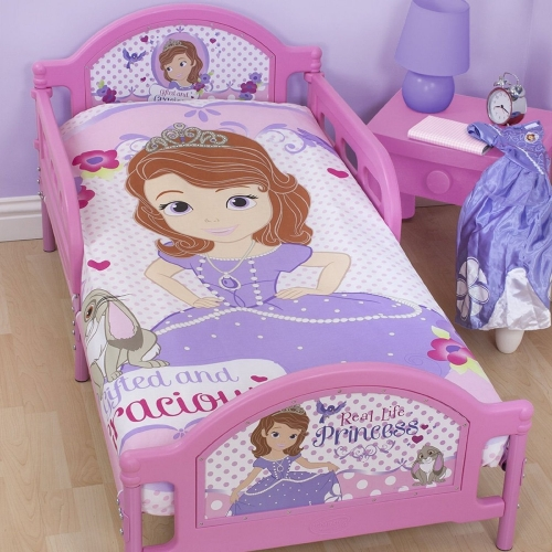 Disney Sofia The First 'Amulet' Panel Junior Cot Bed Duvet Quilt Cover Set