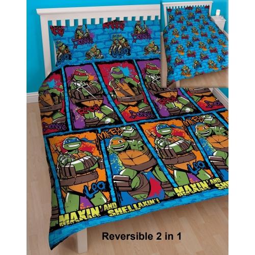 Teenage Mutant Ninja Turtles Urban Rotary Double Bed Duvet Quilt Cover Set