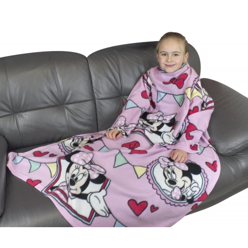 Disney Minnie Mouse Cafe Cosy Wrap Blanket Sleeved Fleece