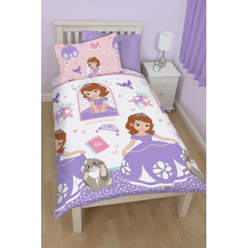 Disney Sofia The First Academy Reversible Rotary Single Bed Duvet Quilt Cover Set