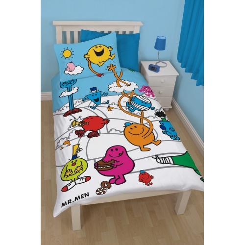 Mr Men and Little Miss Village Panel Single Bed Duvet Quilt Cover Set
