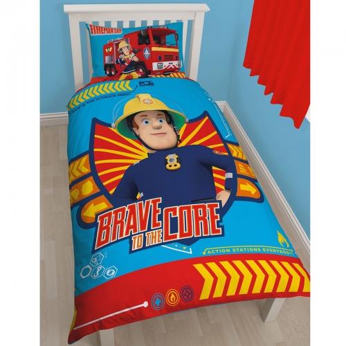 Fireman Sam Brave To The Core Reversible Panel Single Bed Duvet Quilt Cover Set