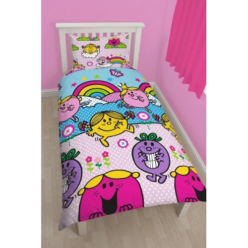 Mr Men & Little Miss Rainbow Rotary Single Bed Duvet Quilt Cover Set