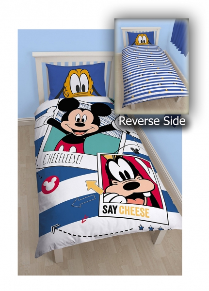 Disney Mickey Mouse 'Polaroid' Reversible Panel Single Bed Duvet Quilt Cover Set