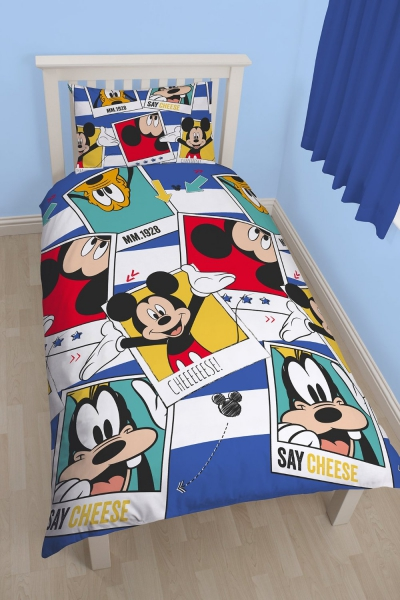 Disney Mickey Mouse 'Polaroid' Rotary Single Bed Duvet Quilt Cover Set