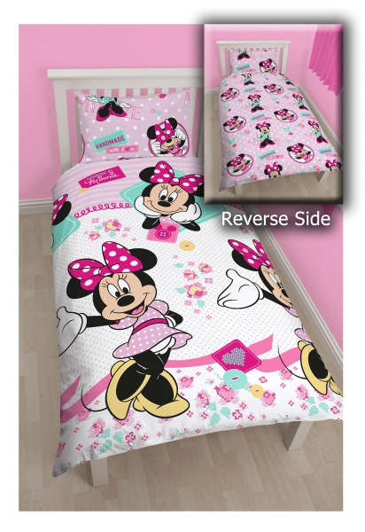 Disney Minnie Mouse 'Handmade' Reversible Rotary Single Bed Duvet Quilt Cover Set