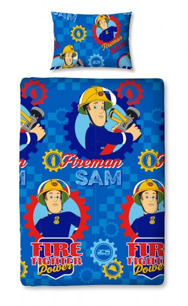 Fireman Sam 'Workshop' Rotary Single Bed Duvet Quilt Cover Set
