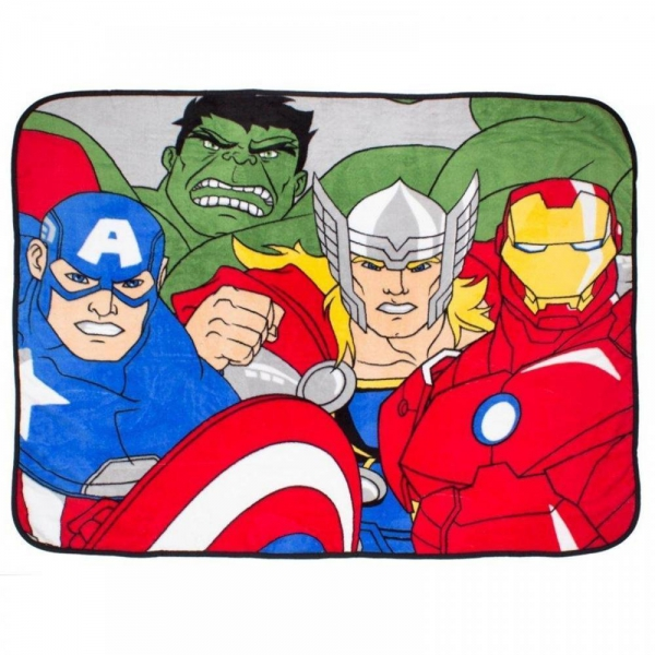 Avengers 'Force' Coral Panel Fleece Blanket Throw
