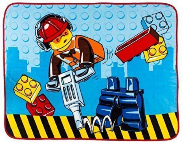 Lego City 'Construction' Coral Panel Fleece Blanket Throw