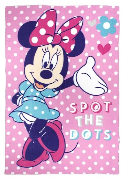 Disney Minnie Mouse 'Dots' Panel Fleece Blanket Throw