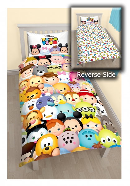 Disney Tsum 'Huddle' Reversible Panel Single Bed Duvet Quilt Cover Set