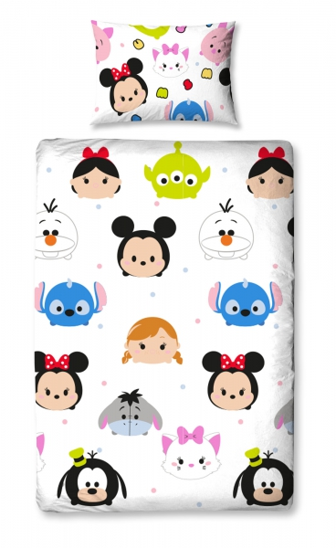 Disney Tsum 'Huddle' Reversible Rotary Single Bed Duvet Quilt Cover Set