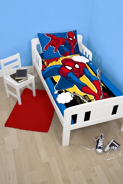 Spiderman 'Webhead' Panel Junior Cot Bed Duvet Quilt Cover Set