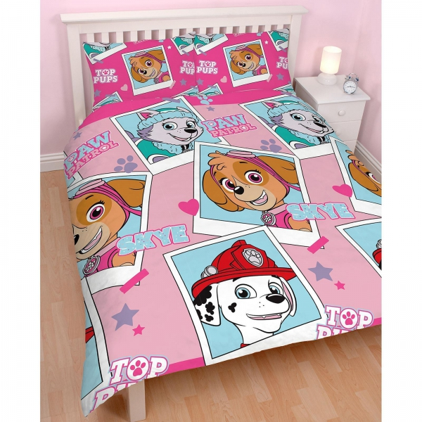 Paw Patrol 'Stars' Reversible Rotary Double Bed Duvet Quilt Cover Set