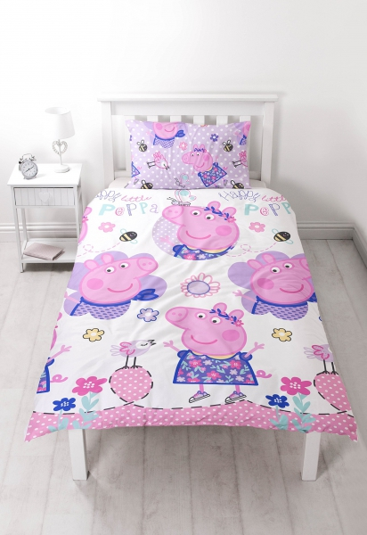 Peppa Pig 'Happy' Reversible Rotary Single Bed Duvet Quilt Cover Set