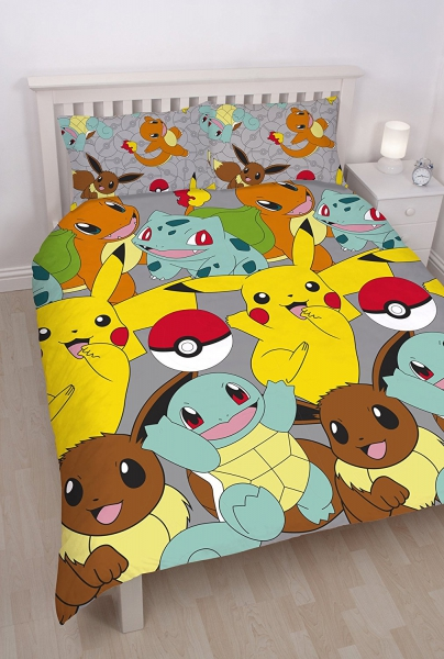 Pokemon 'Catch' Reversible Rotary Double Bed Duvet Quilt Cover Set